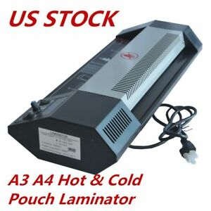 Usa 110v Steel Thermal Laminator A3 Hot Cold Machine Roller Pouch Photo Office