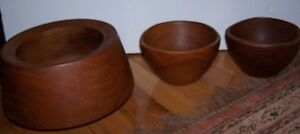 Lot 3 Solid Carved Wood Serving Salad Bowls 1 Aristocrat 2 Action Cheswick Pa