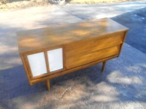 Vintage Mid Century Modern Walnut Cabinet Mini Credenza Chest Cabinet By Dixie