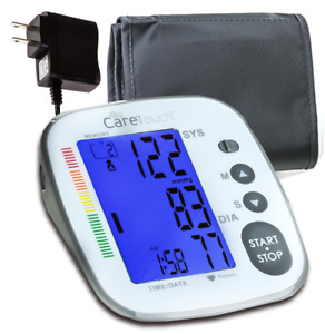 Care Touch Blood Pressure Monitor W Ac Adapter Digital Arm Cuff Med Platinum