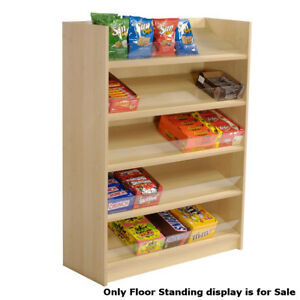 Maple Laminated Five Shelf Candy Floor Standing Display 36 W X 14 D X 48 h