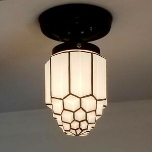 543b Vintage Antique Art Deco Ceiling Light Lamp Fixture Fixture Porch Hall