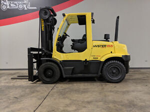 2011 Hyster H155ft 15500lb Dual Drive Pneumatic Forklift Cab Diesel Lift Truck