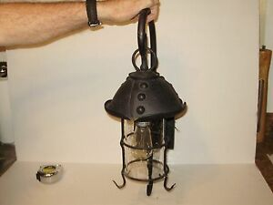 Spanish Revival Mission Tudor Iron H Meta Light W Bubble Glass Large 22 In Tall