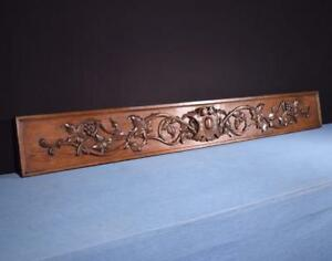 71 Antique French Carved Black Forest Architectural Panel Solid Oak Wood Trim