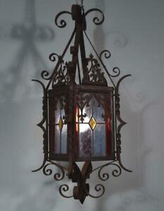 Vintage French Neo Gothic Iron And Stained Glass Chandelier Lamp