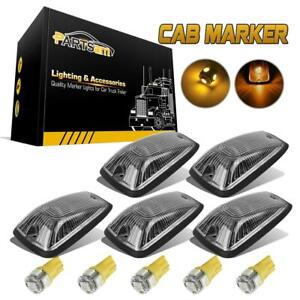 5pc For Chevy Gmc 88 00 Clear Lens Cab Marker Light 264159cl Amber 5050 Led Base