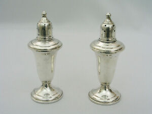 Vintage Empire 231 Sterling Silver Weighted Pair Of Salt Pepper Shakers 4 75
