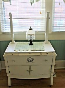 Shabby Chic Washstand With Towel Bar Antique Vintage