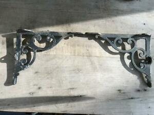 Vintage Pair Black Cast Iron Shelf Brackets 2 Pieces 8 1 6 X 10 1 8 Rustic Prim
