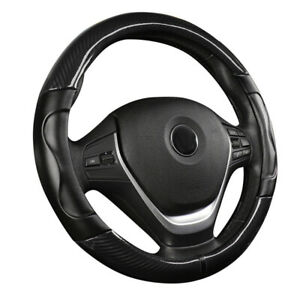 1x 15 Black Carbon Fiber Car Stitching Steering Wheel Cover Non Slip 38cm New
