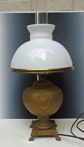 Antique Metal Lamp Greek Decorations White Milk Glass Shade Electrified Chimney