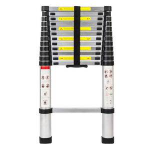 12 5ft Telescopic Extension Aluminum Ladders Folding Multi Purpose Step Ladder