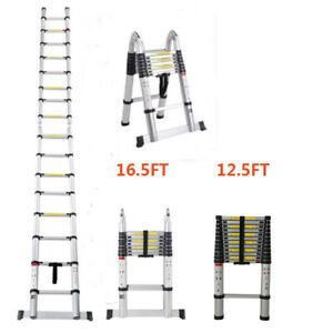 12 5ft 16 5ft Aluminum Multi purpose Telescopic Extension Ladder Foldable Heavy