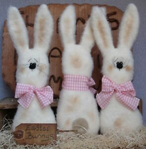 Primitive Easter Cream Bunny Pink Gingham Bow Bowl Fillers Ornies