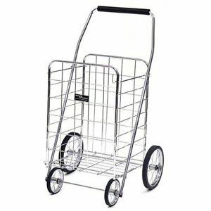 Jumbo Chrome Shopping Cart Folding Basket Grocery Laundry Rolling Wheels Trolley