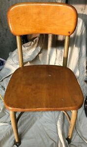 Vintage 25 Childs Chair Metal Wood Youth School Desk Library Rustic