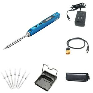 Mini Soldering Iron Station Ts100 Power Supply Cable Solder Tip Carry Case Stand