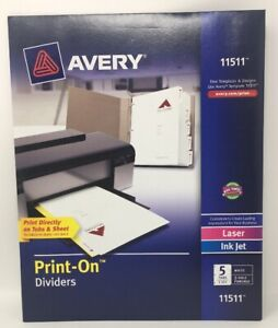Avery Print on Dividers Tabs Sheets White 3 hole Punched 11511 5 Packs
