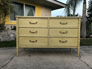 Palm Beach Florida Style Faux Bamboo 6 Drawer Dresser Henry Link Bali Hai Line