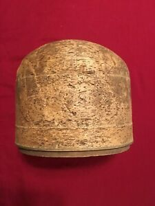 Antique Millinery Hat Block Mold Form Stand Wood Cork Vintage 22 1 2 Herm S