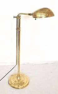 Vintage Mcm Stiffel Brass Floor Reading Lamp Shell Shade Adjustable 33 To 48 In