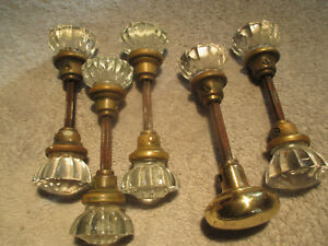 Lot Of Five Vintage Molded Glass And Brass Door Knobs
