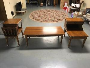 3 Vintage Baumritter By Ethan Allen Maple Tables Coffee End Lot Of 3