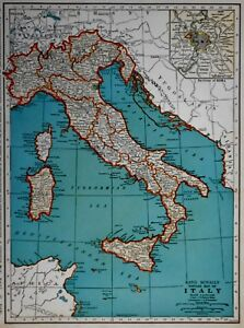 Vintage 1939 Atlas Map World War Wwii Italy Switzerland Old Europe With Rome