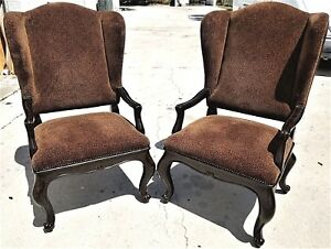 Pair Of Marge Carson For Robb Stucky Leather Wing Back Armchairs Animal Print