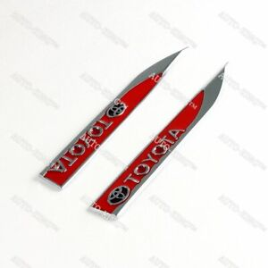Red Metal Emblem Car Trunk Side Wing Fender Decal Badge Sticker For Toyota 2 Pcs