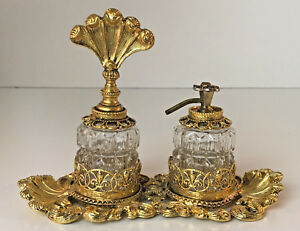 Vintage Gold Plated Ormolu Two Perfume Bottles Set With Holder
