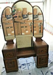 1930 S Vintage Art Deco Waterfall Vanity Tri Fold Mirror Dovetail Drawers Inlay
