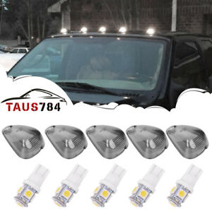 5 Smoke Roof Cab Marker Lights Covers Bulbs Led For Ford F250 F350 F450 F550