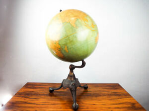 Antique Rand Mcnally 18 World Terrestrial Globe 1908 Rare Eagles Clawfoot Base