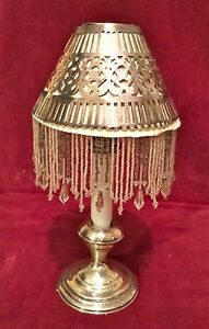 Antique 4 Gorham Silver Plate Candlestick Shades Cloth Mica Sterling Holder