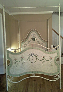 Jane Keltner For Brighton Pavilion Hand Painted Signed Full French Iron Bed