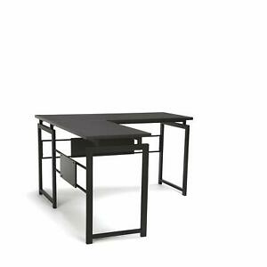 L shaped Corner Office Desk With Metal Frame And Laminated Espresso Wood Top