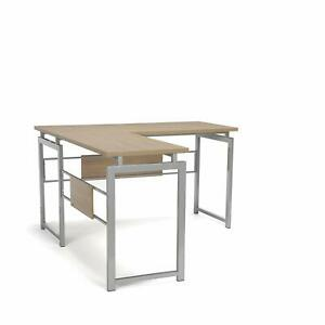 L shaped Corner Office Desk With Metal Frame And Laminated Natural Wood Top