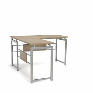 Modern Design L shaped Corner Office Desk With Metal Frame And Natural Wood Top