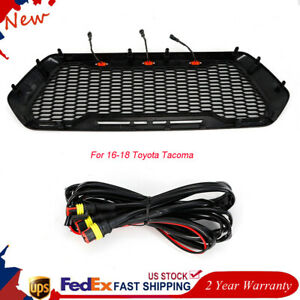 Front Bumper Abs Mesh Grille Upper Grill 3 Led Lights For 2016 18 Toyota Tacoma