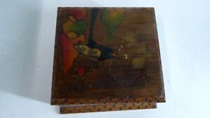 Vintage Wooden Hankerchief Poker Work Jewellery Box Trinket Gum Nuts Leaf Wren