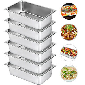6 Pack Full Size 6 Deep Stainless Steel Steam Prep Table Buffet Food Pan Hotel