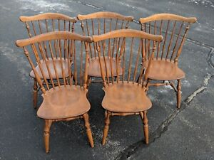 Set Of Five Ethan Allen Baumritter 442 Maple Windsor Chairs In Ct