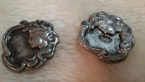 Two Old Art Nouveau Metal Buttons Lady Cameo