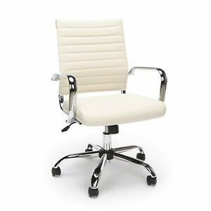 Mid Back Executive Conference Office Chair With Arms Ivory Ribbed Leathersoft