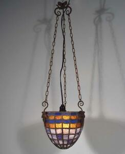 Vintage Stained Glass And Wrought Iron Hanging Lamp Chandelier