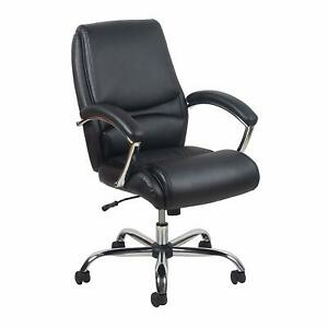 High Back Executive Conference Office Chair With Arms Black Leathersoft
