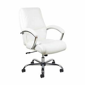 High Back Executive Conference Office Chair With Arms White Leathersoft