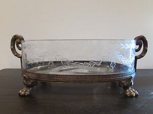 Antique Crystal And Bronze Centerpiece